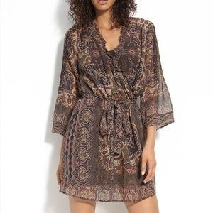 Joie Paisley Print Silk Semi Sheer Sarika Dress